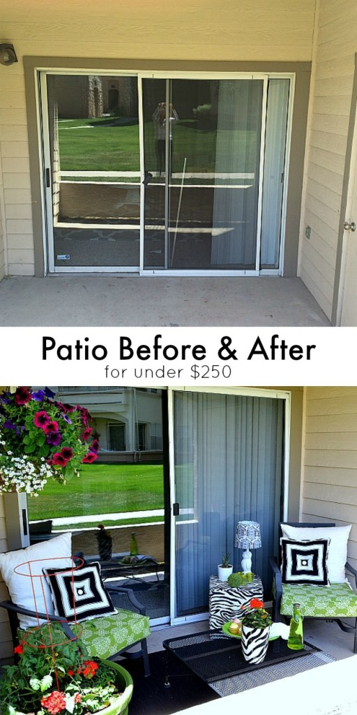 Before and after patio for Small balcony ideas on a budget
