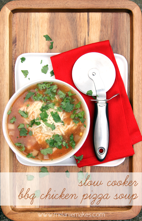 Slow Cooker BBQ Chicken Pizza Soup @ Melanie Makes