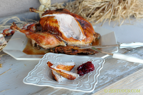 Brined and Grilled Turkey from Zestuous