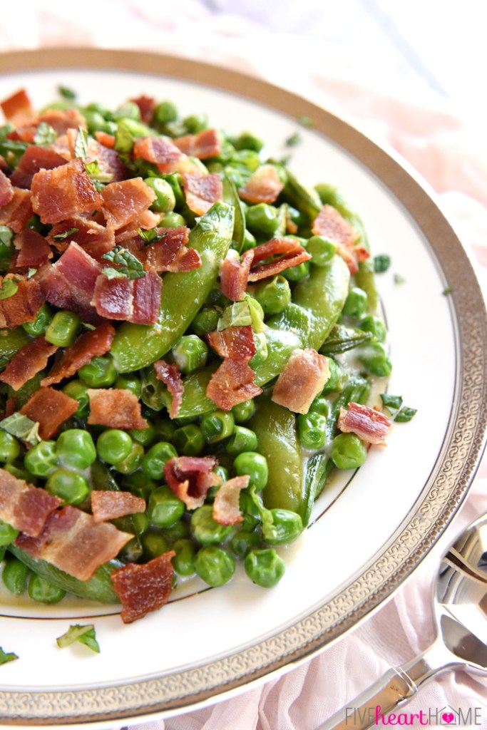 Creamy Spring Peas with Bacon & Mint @ Five Heart Home