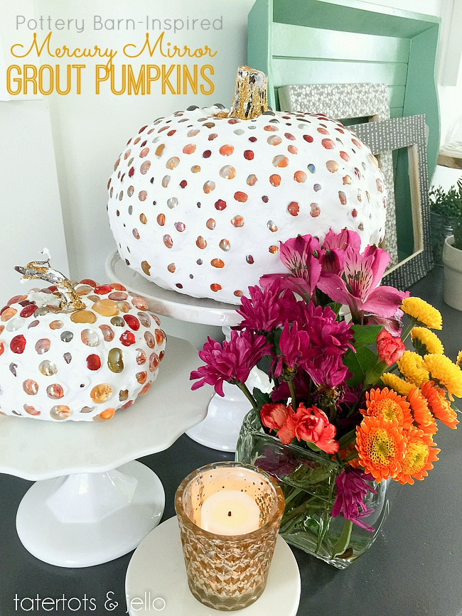 Mercury Mirror Grout Pumpkins  |  25 Creative DIY Pumpkins at www.andersonandgrant.com