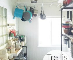 Turn a $10 Garden Trellis into a Kitchen Pot Rack!