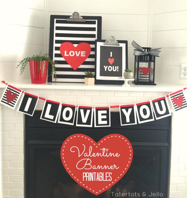 Black and White Stripes with pops of RED via Tatertots & Jello - Valentine's Day Mantle Decorations with FREE PRINTABLE Paper Craft Banner!