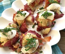 Smashed Parmesan Potatoes with Herbs, Prosciutto and Ricotta
