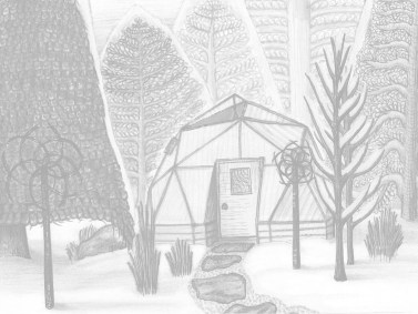 Colorado winter with trees and geodesic greenhouse dome, ink & pencil
