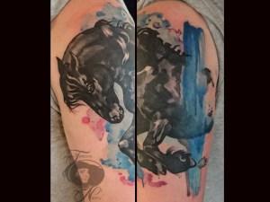 friesian horse watercolor tattoo1