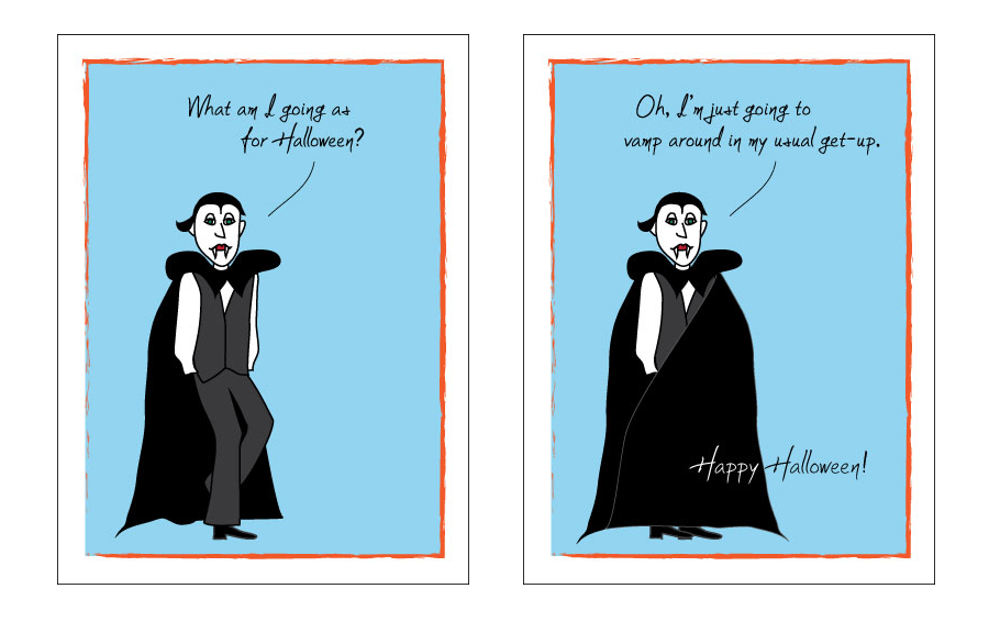 Vladdie the Vampire Card About What to Wear for Halloween