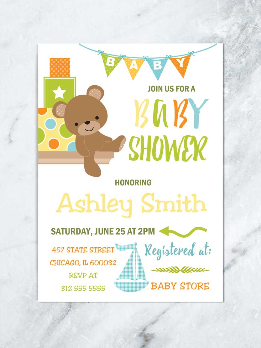 Piquant Bear Baby Shower Invitation Bear Baby Shower Boy Baby Baby Forest Boy Baby Shower Invitations Elephants Boy Baby Shower Invitations Walmart baby shower Boy Baby Shower Invitations