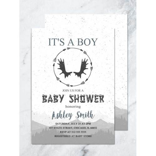Medium Crop Of Woodland Baby Shower Invitations