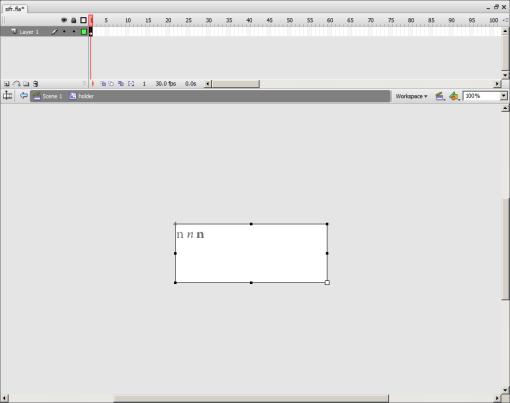 Captura de pantalla de pantalla de Flash después de escribir los caracteres