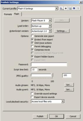 Captura de segunda pantalla de configuración Flash Publicar