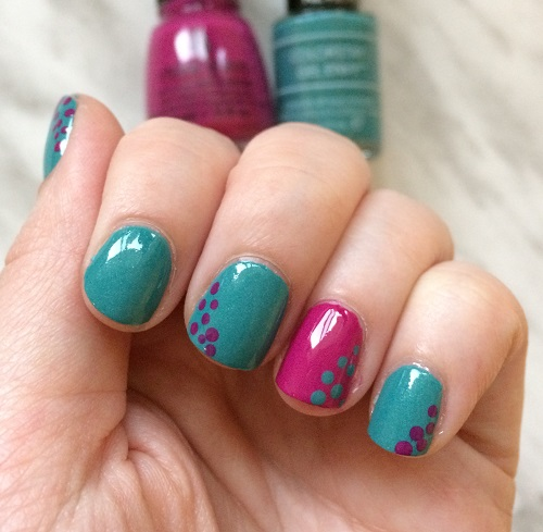 Dotticure manicure using Revlon Colorstay Gel Envy in Dealer's Choice and China Glaze in Dune Our Thing - Guest Post by Workaday Beauty