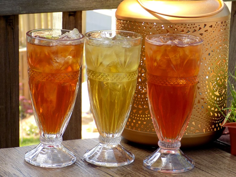 Tealish Iced Teas from Avon - Citrus Grove - Fairy Dust - Lavender Mint in Avon Sundae Glasses and Avon Lantern