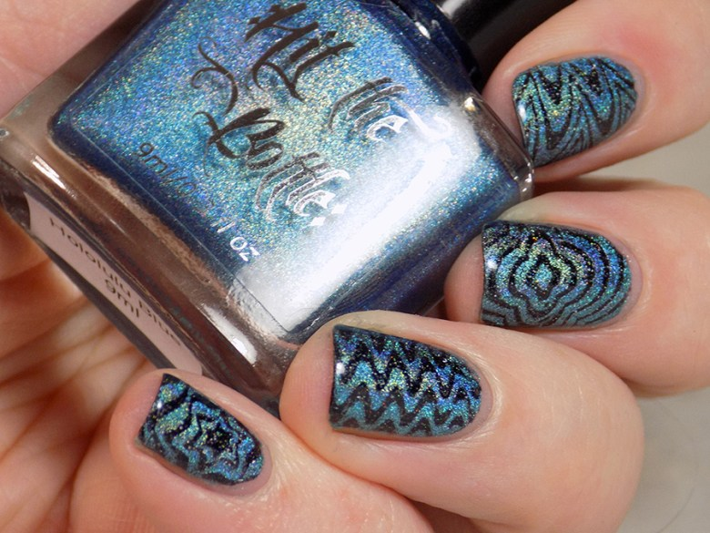 Hit The Bottle Hololulu Blue over CbL Can We Have Trudeau BP-L050 Watermarble Stamping Holo Stamping Swatch