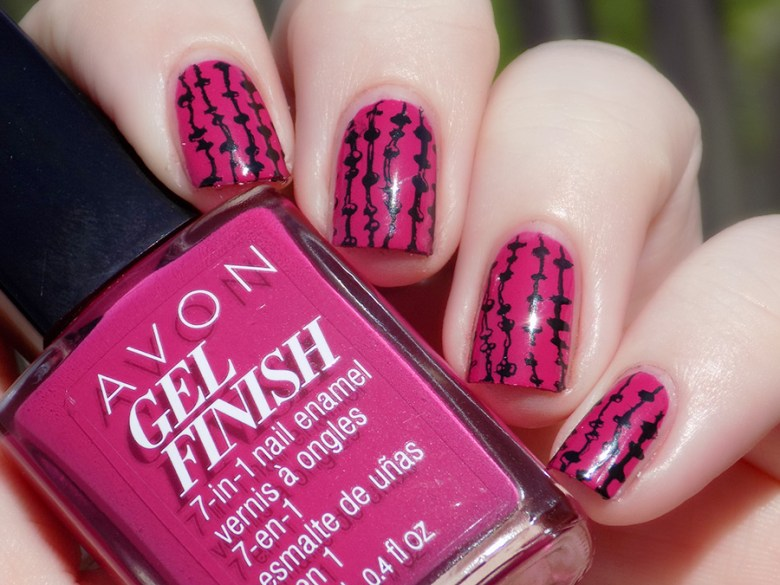 Avon Gel Finish Rose Noir Nail Polish Swatch stamped with XYZ26 plate - Natural Sunlight