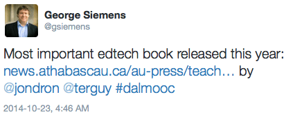 "George Siemens calls it the ""Most important edtech book released this year"""