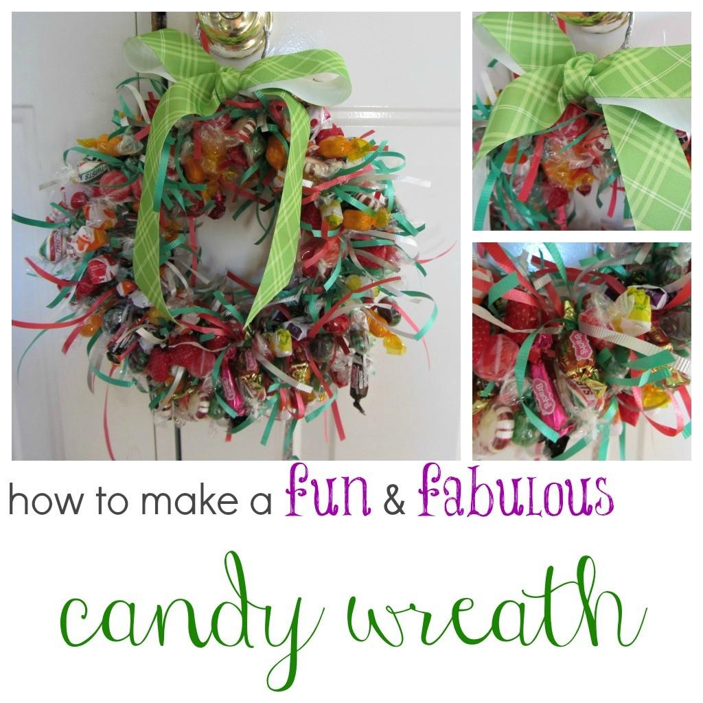 candy wreath hanging on door