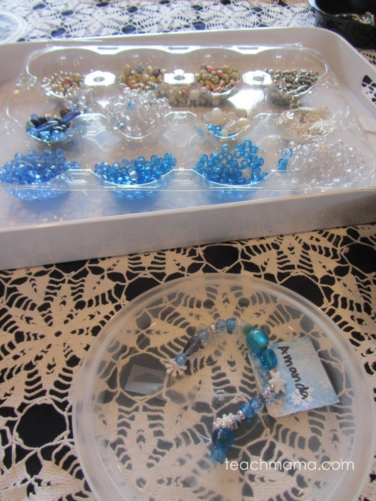 beads on a tray