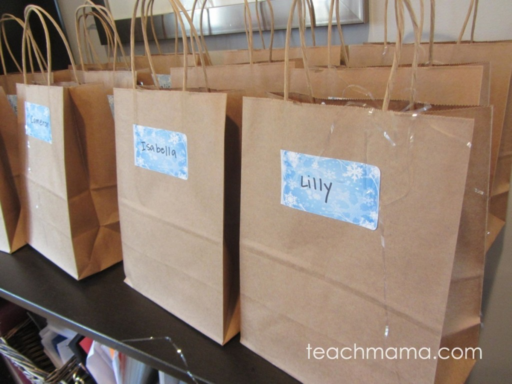 brown birthday bags with nametags