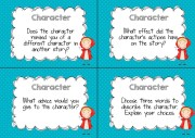 character guided reading question cards