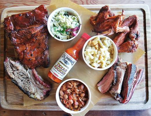 Barbecue Share Plate at the Erko: Pork Ribs, Beef brisket, Beef Ribs, Chicken Wings, Baked Beans, Mac and Cheese, Texan Slaw