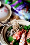 A forkful of Chang's Super Lo Cal Noodles braised with prawns