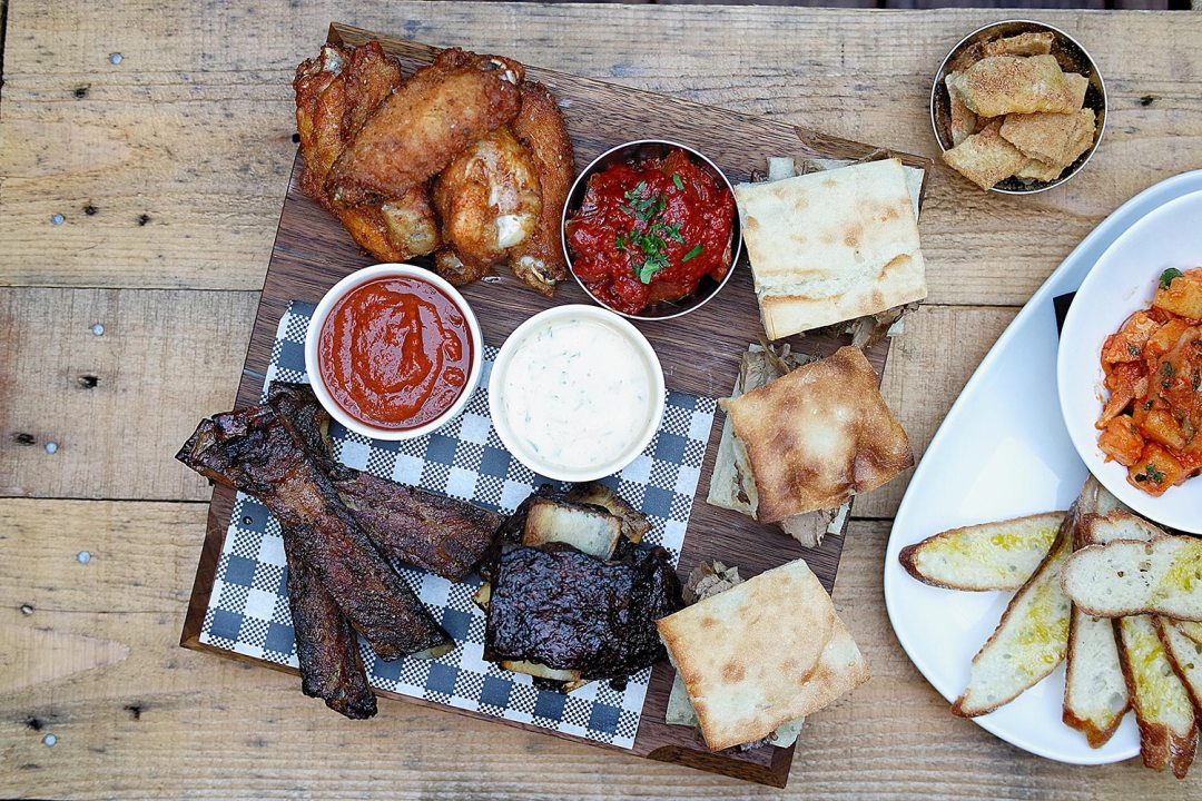 Hickory Board with all the smoked items from Parson's Bar and Kitchen