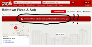 bobtown pizza closed