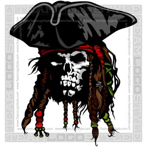 Skeleton Pirate Logo- Vector Clipart Image