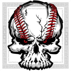Skull Baseball Logo - Vector Clipart Image