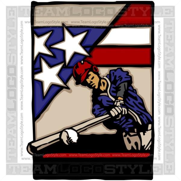 American Flag Baseball Logo Vector Clipart Image
