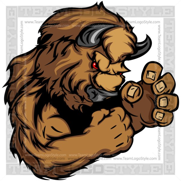 Clipart Buffalo Mascot - Vector Cartoon Image