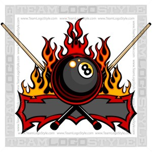 Eight Ball Flame Logo - Vector Graphic Image