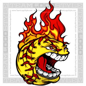 Flaming Fastpitch Logo - Cartoon Clipart Image