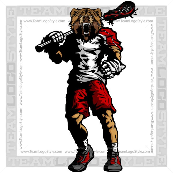 Grizzly Lacrosse Silhouette Vector Clipart Image