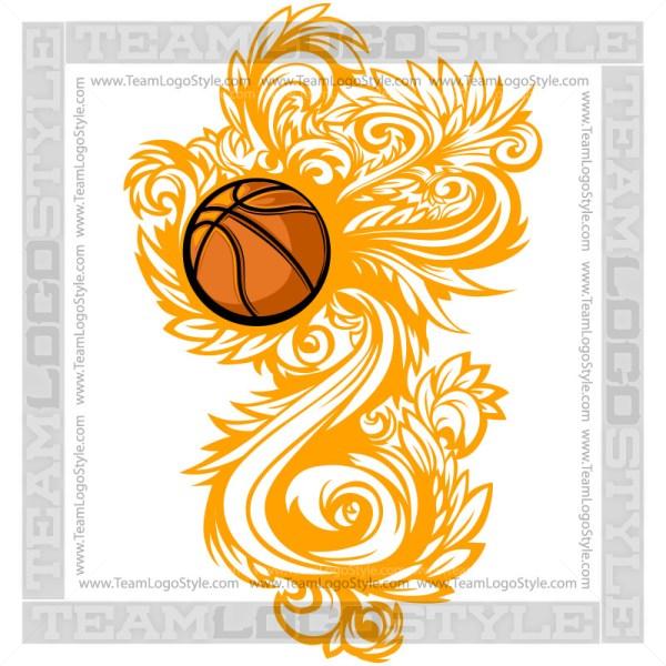 Basketball Flourish Logo Clipart Ornate Design