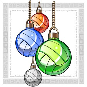 Christmas Volleyball Clipart - Holiday Ornaments