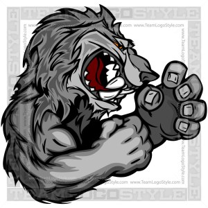 Cartoon Wolf with Fighting Hands Clipart Image