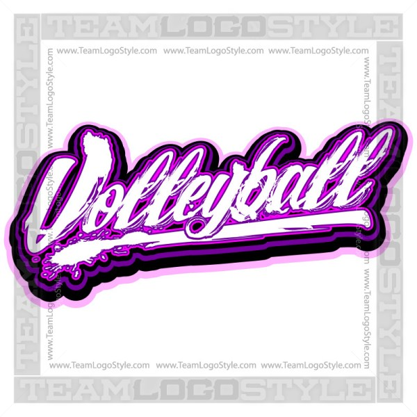 Distressed Volleyball Logo - Vector Clipart image