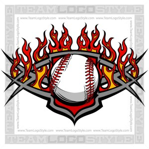 Flaming Baseball Logo Vector Clipart Image