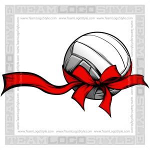 Holiday Volleyball Clipart - Christmas Ribbon
