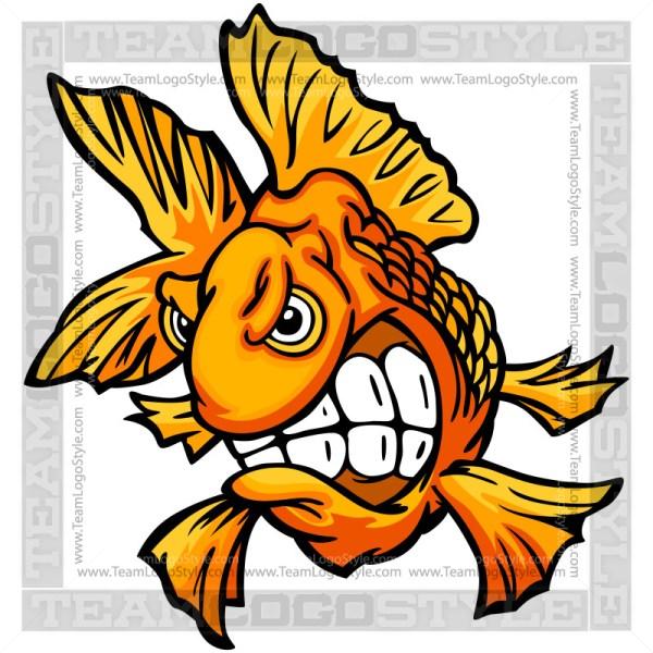 Angry Goldfish Cartoon Clipart Image