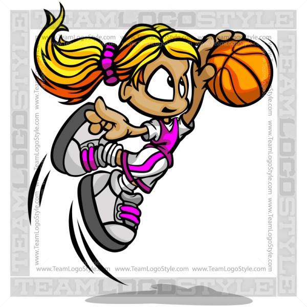 Cartoon Basketball Girl Vector Clipart Image