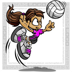 Volleyball Kid Cartoon Vector Clipart Image
