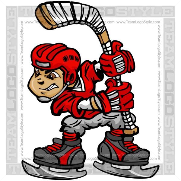 Cartoon Hockey Player Vector Clipart Image