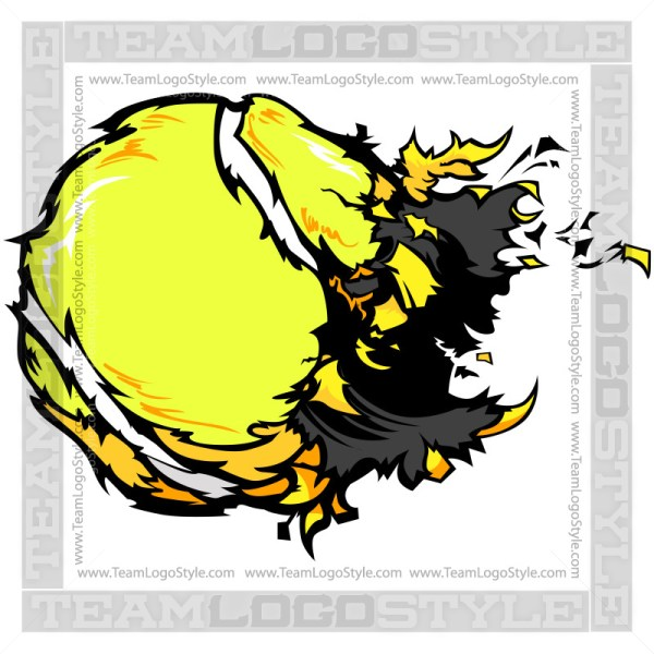 Destroyed Tennis Ball Clipart Image