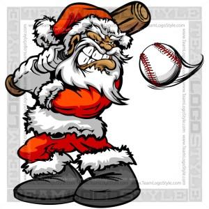 Santa Claus Hitting Baseball Clipart Image