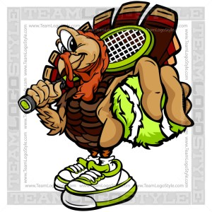 Thanksgiving Tennis Clipart - Turkey Holding Ball