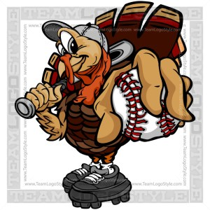 Turkey Holding Baseball Clipart