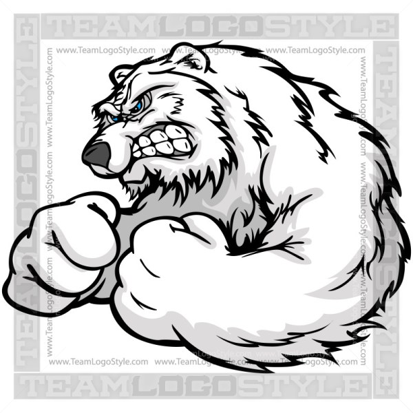 Aggressive Polar Bear Cartoon